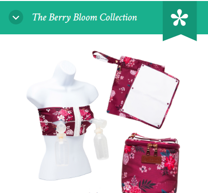The Berry Bloom Collection: PumpEase Hands-free bra, Pumparoo and Cold Gold Milk Cooler