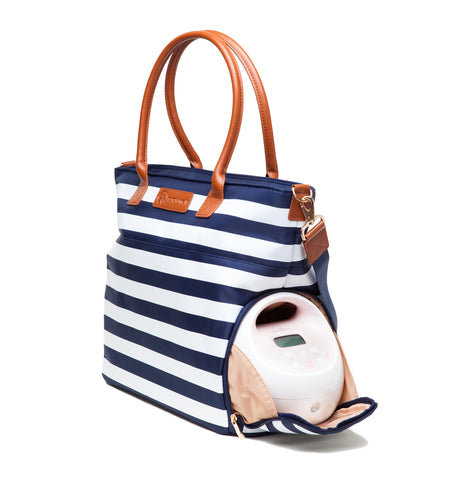 Abby (Navy Stripe) - Buy Designer Breast Pump Bags and Coordinating Pumping Accessories from Sarah Wells Bags