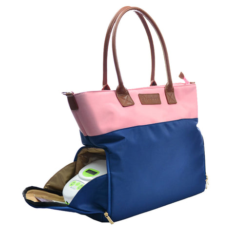 Abby (Pink & Navy) - Buy Designer Breast Pump Bags and Coordinating Pumping Accessories from Sarah Wells Bags
