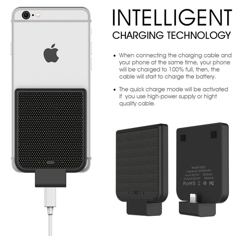 iPhone PWR Pack - Mini Portable 2200 mAh Fast Battery Charger - Thin Charge