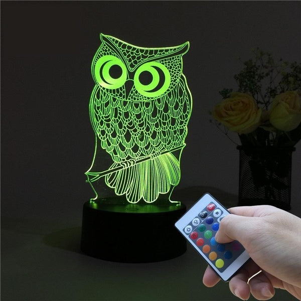3D OWL Night Light RGB Changeable - Decorative Table Lamp Get a free remote control