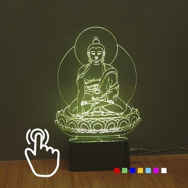 Lord Buddha- 3D 7 Colors USB Touch Night Light Changer - Theblingmarket