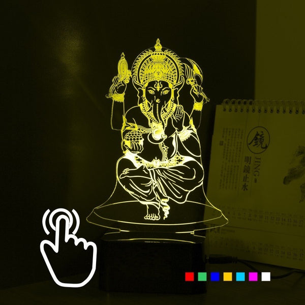 Lord Ganesha Ji- 3D 7 Colors USB Touch Night Lamp - Theblingmarket
