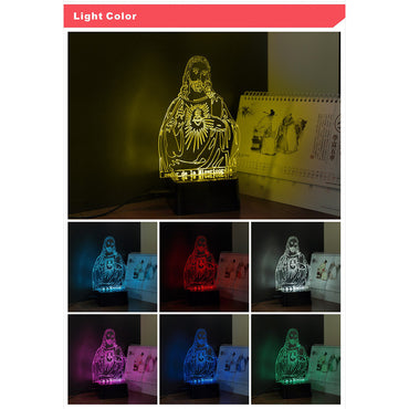 Lord Jesus- 3D 7 Colors USB Touch Night Light Changer - Theblingmarket