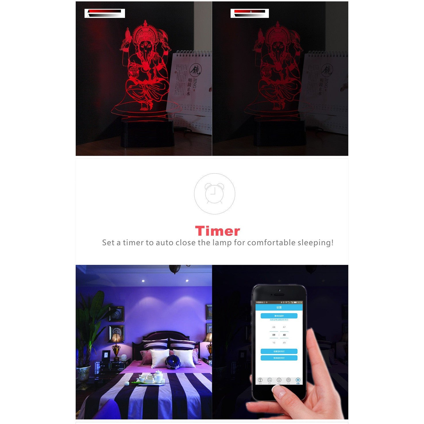 3D Lord Ganesha Ji Lamp with Music Bluetooth Speaker - Theblingmarket