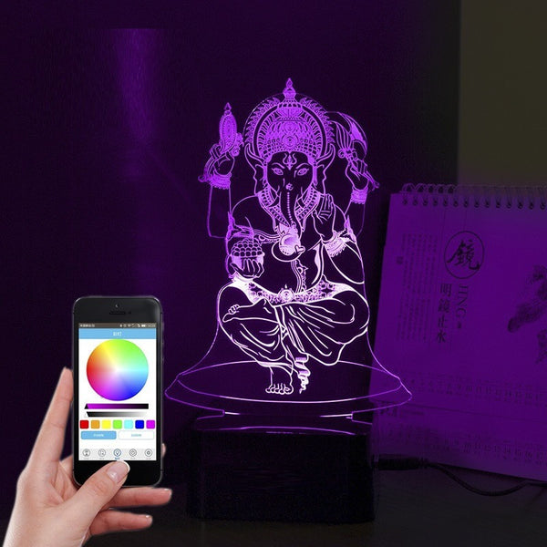 Smart 3D Lord Ganesha Ji Statue Night Lamp with Music Bluetooth Speaker - Theblingmarket