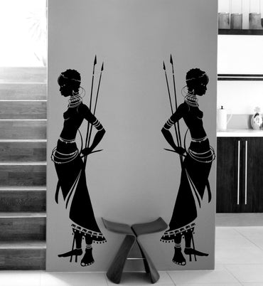 Tribal woman wall decal - Theblingmarket