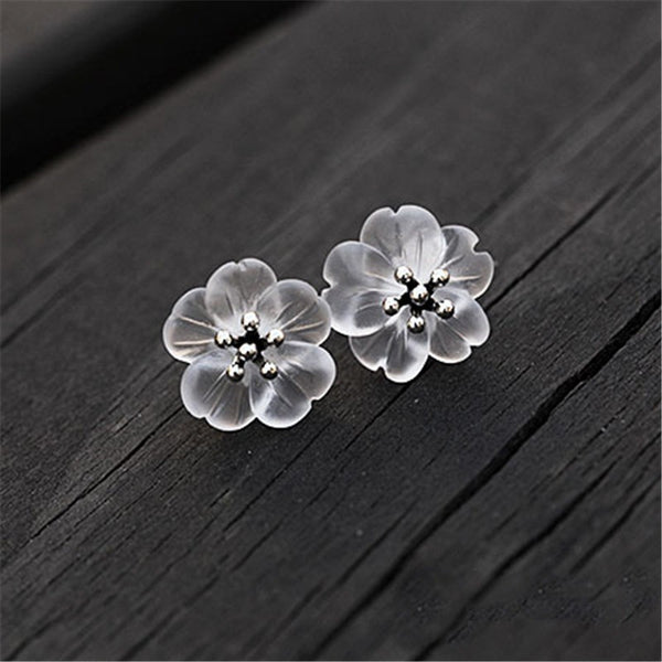 Camellia Flower Stud Earrings - Theblingmarket