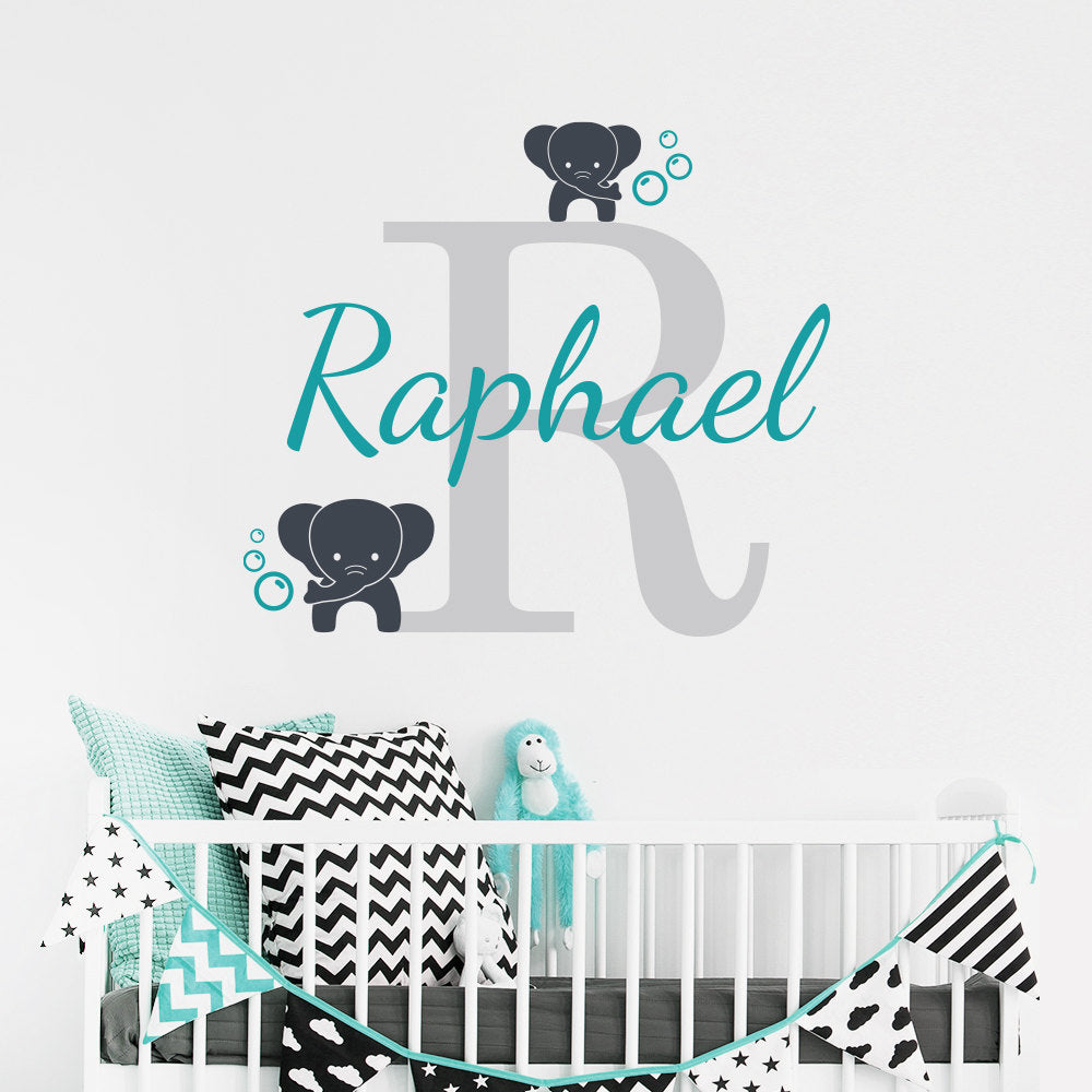 Customized Name Elephant Wall Decal For Kids Room