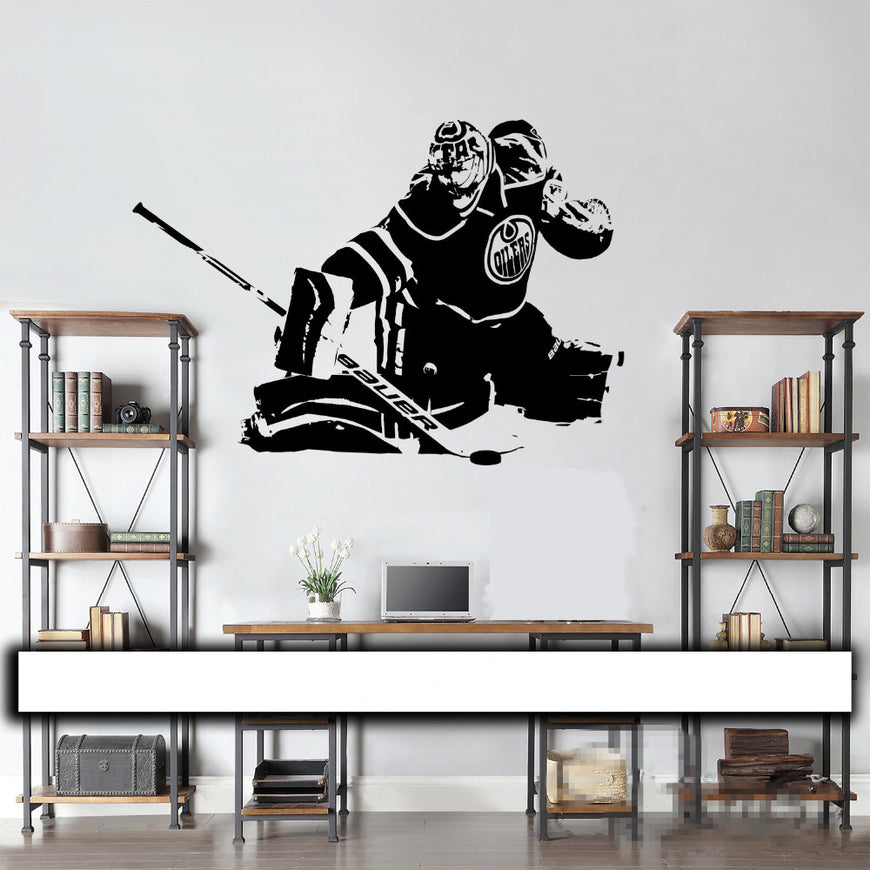Oilers Hockey Goalie Wall Decal - Theblingmarket