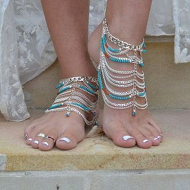 Turquoise Bohemian Beach Anklet - Theblingmarket