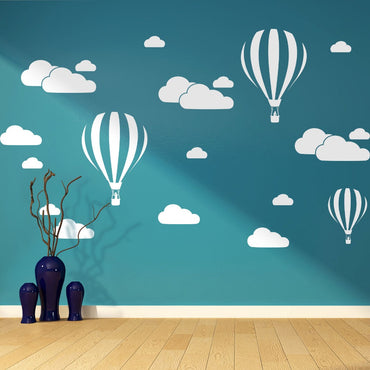 White Clouds & Hot Air Balloons Kids Room Decor