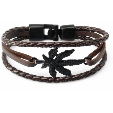 Handmade Leather Leaf and Feather Bracelet