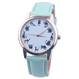 Classic Cat Pattern Leather Watch