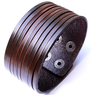 Unisex Black Brown Leather Cuff - Theblingmarket