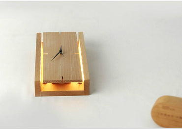 Wooden clock Table Lamp - Theblingmarket