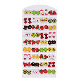 Kids cute flower fruit animal stud earrings 36 Pair/set