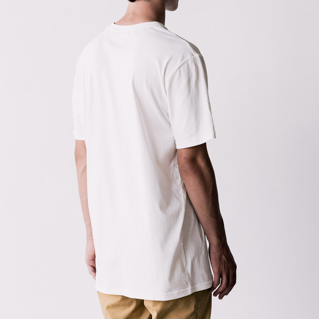 THE LONG REGGIE TEE / WHITE / LITTLE H I H