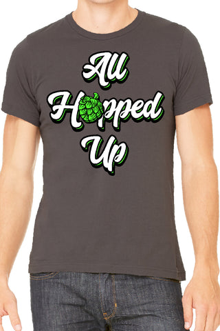 All Hopped Up T Shirt - Smoke Grey Beer Shirt by Side Street Print