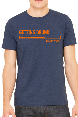 Getting Drunk Men's Heather Navy Beer T Shirt by Side Street Print