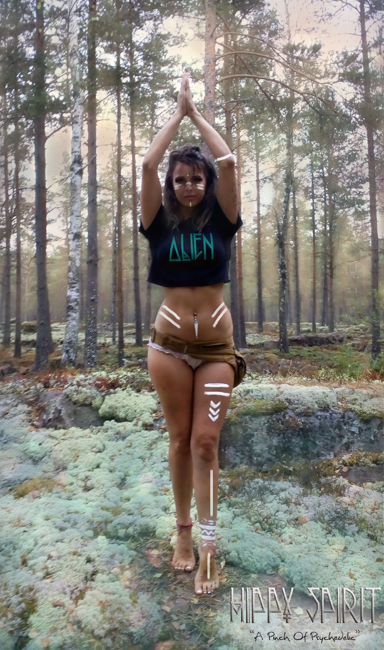ALIEN AZTEC DRAGONFLY CUT + WEAVE CROP T-SHIRT