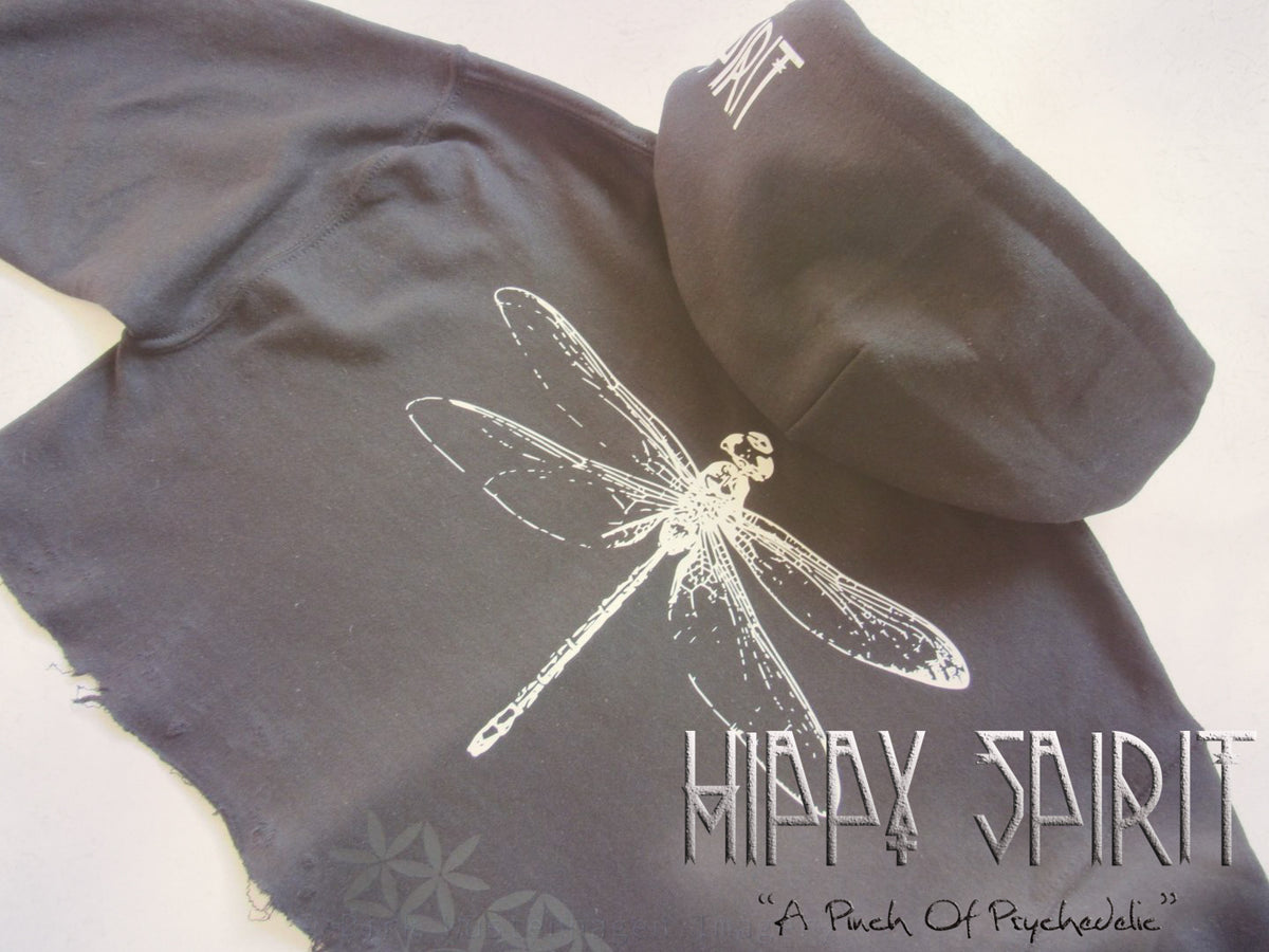 DRAGONFLY FAIRY FLOWER OF LIFE CROP HOODIE