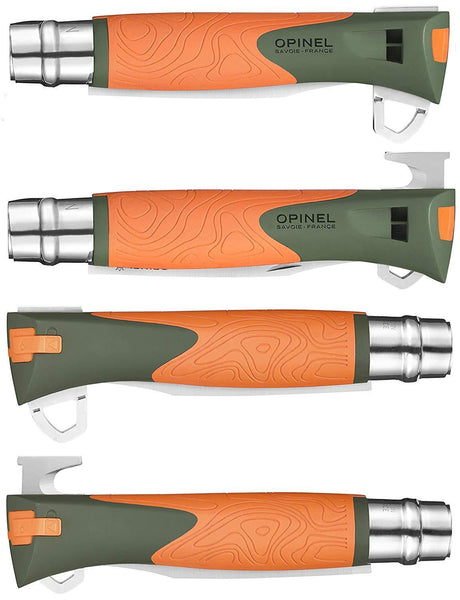 No. 12 Opinel Explore Survival Locking Pocket Knife + Fire Starter, Emergency Whistle, and Cutting Hook - CountyComm