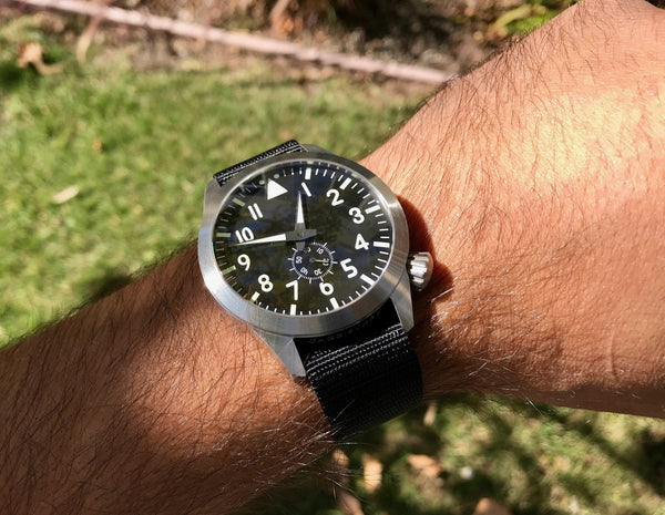Large Pilot Automatic Watch + Clear Sapphire Back by Maratac