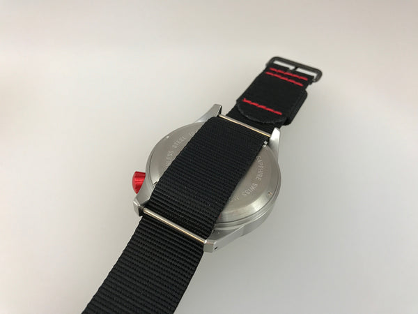 Red Crown - Large Swiss Quartz Pilot Watch - Central Second by Maratac™