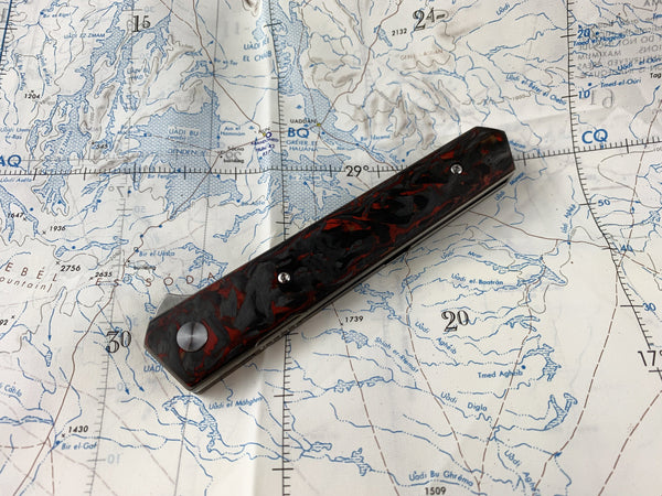 Custom Boker Ti - Kwaiken Elite M390 Knife + Red Marble Carbon Fiber - 150PC Made! - CountyComm