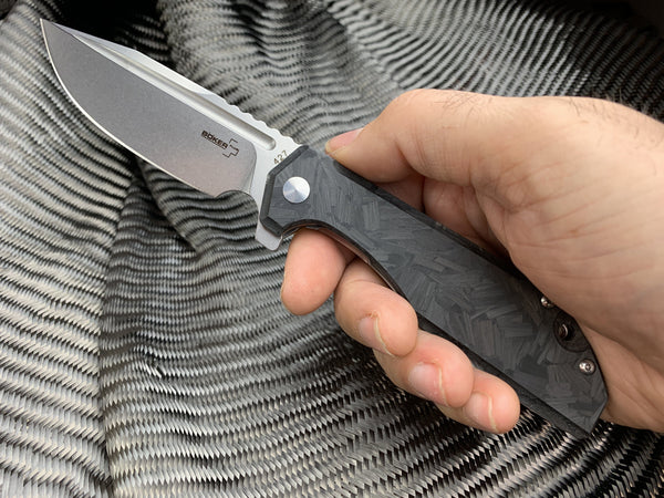 Glow - Boker Stout Commander -  Shredded Carbon Fiber Knife - CountyComm