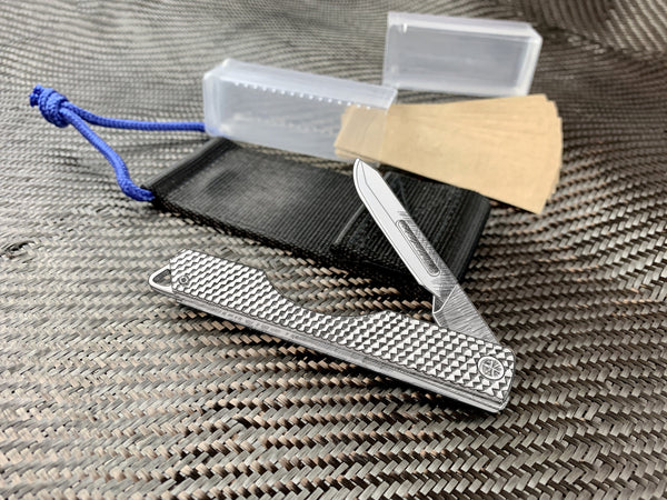 Oversized - Folding Titanium Craft Scalpel Knife + Case + Spare Blades! - CountyComm