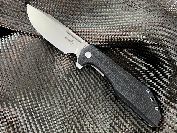 Boker Stout Commander -  CC Exclusive Dimpled Carbon Fiber Knife - CountyComm