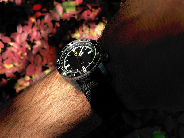( Black DLC - X1 ) SR-35 Diver Automatic Watch by Maratac + Clear Sapphire Back