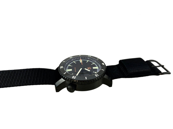 ( Black DLC - X1 ) SR-35 Diver Automatic Watch by Maratac + Clear Sapphire Back - CountyComm