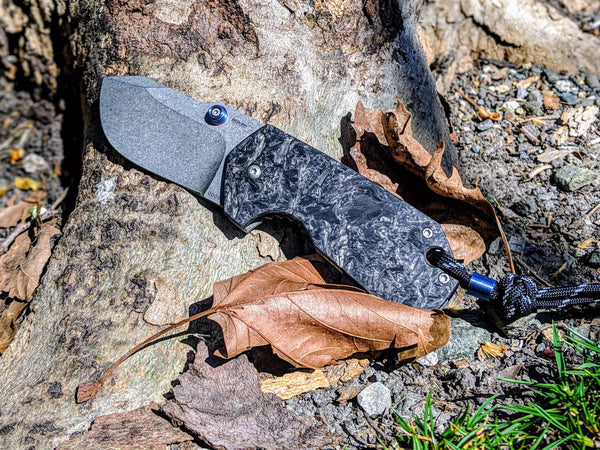 Marble Carbon Fiber - Titanium Boker Anso - Albatross Tactical Frame Lock Knife - CountyComm