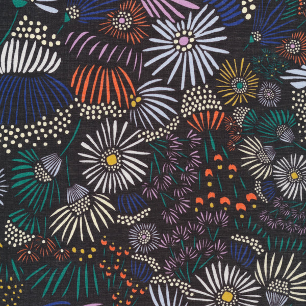 Evening Asters in Black | Organic Cotton Batiste - 1/4m