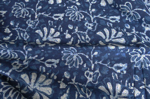 Indigo Strewn Flowers - Block Print | Cotton