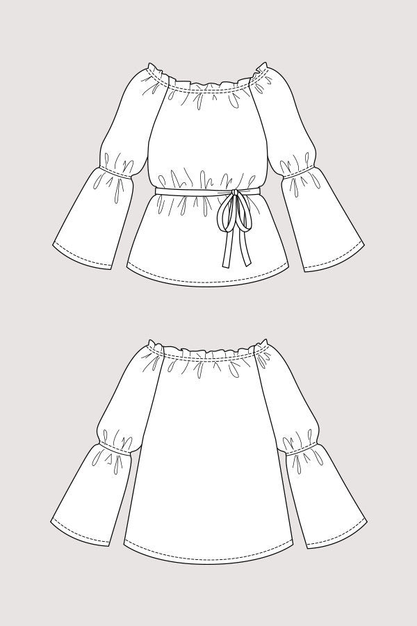Marie Gathered Midi Dress & Blouse sewing pattern | Named