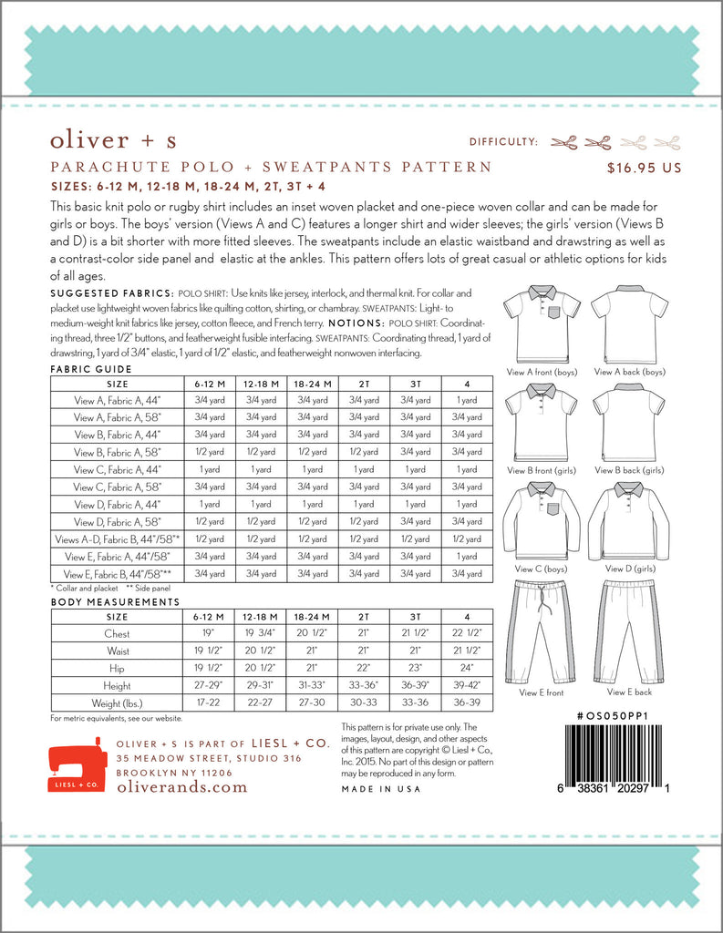 Parachute Polo + Sweatpants Paper Sewing Pattern | oliver+s - Stitch 56  - 13