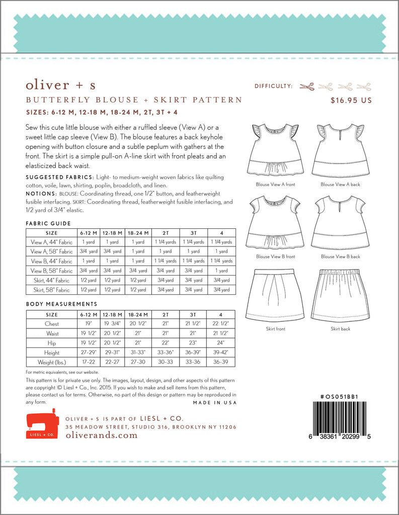 Butterfly Blouse+ Skirt Paper Sewing Pattern | oliver+s - Stitch 56  - 12