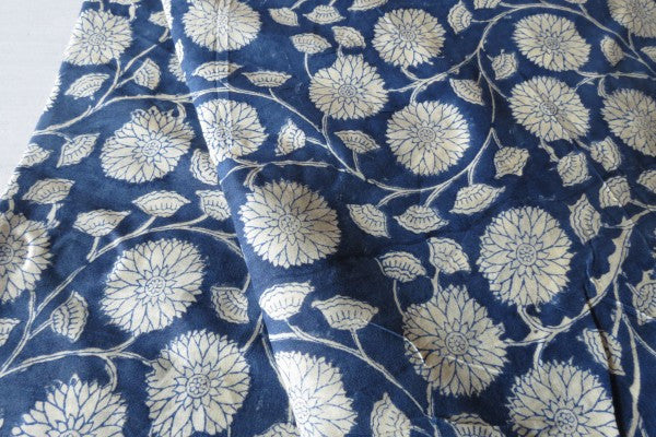 Sunflower Indigo - Block Print | Rayon