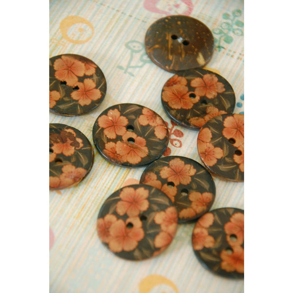 Apricot Floral Painted Coconut Buttons