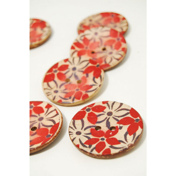Printed Coconut Buttons - Bright Red Flowers - Stitch 56
