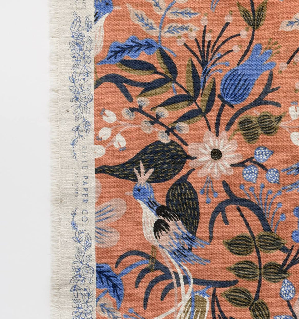 Folk Bird Peach | Cotton Linen Canvas 1/4m