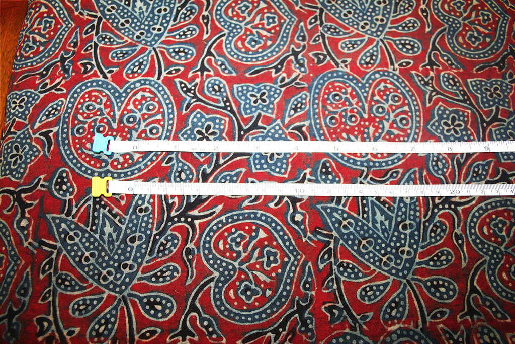 Red Ajrakh Floral | Cotton - by the 1/4 metre - Stitch 56  - 3