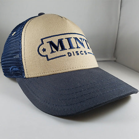 Trucker Hat - Low Profile (Khaki & Navy Blue)