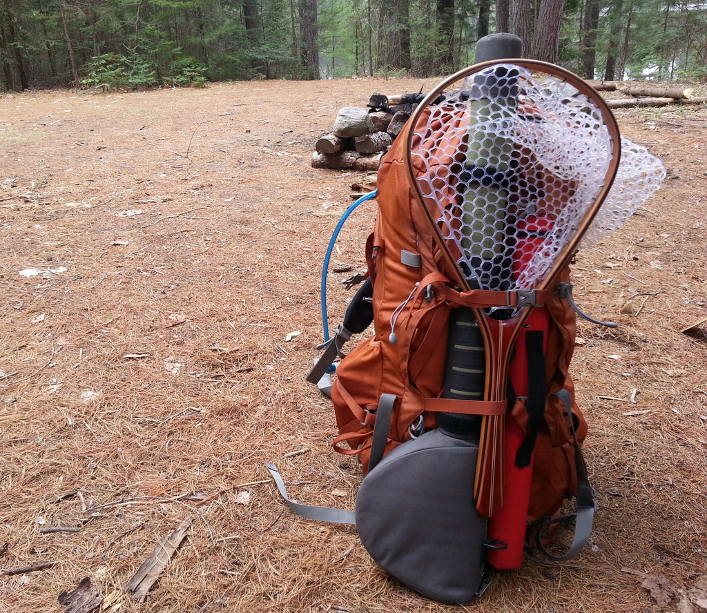 Net in a backpack. Tailwater Outdoors premium quality classic style fishing nets, handmade from high quality woods. Ideal for all fishing and outdoor enthusiasts.