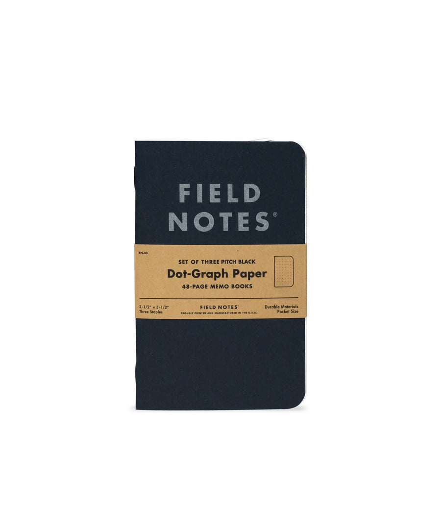 Field Notes Pitch Black Memo Book - Ruled - 3-Pack
