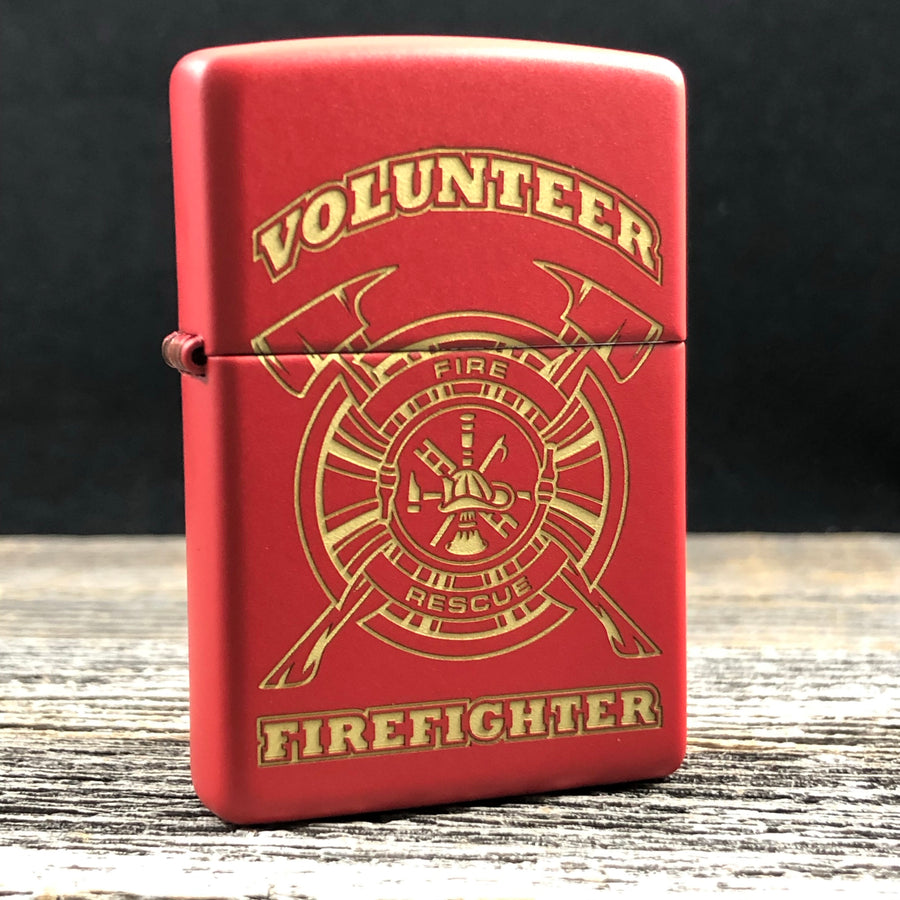 2019 Zippo Lighter - Volunteer Firefighter - Red Matte